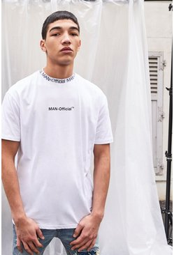 White MAN Official Printed T-Shirt With Rib Detail