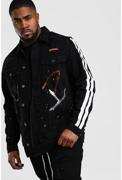 Big & Tall MAN Denim-Jacke mit Graffiti-Print, Schwarz