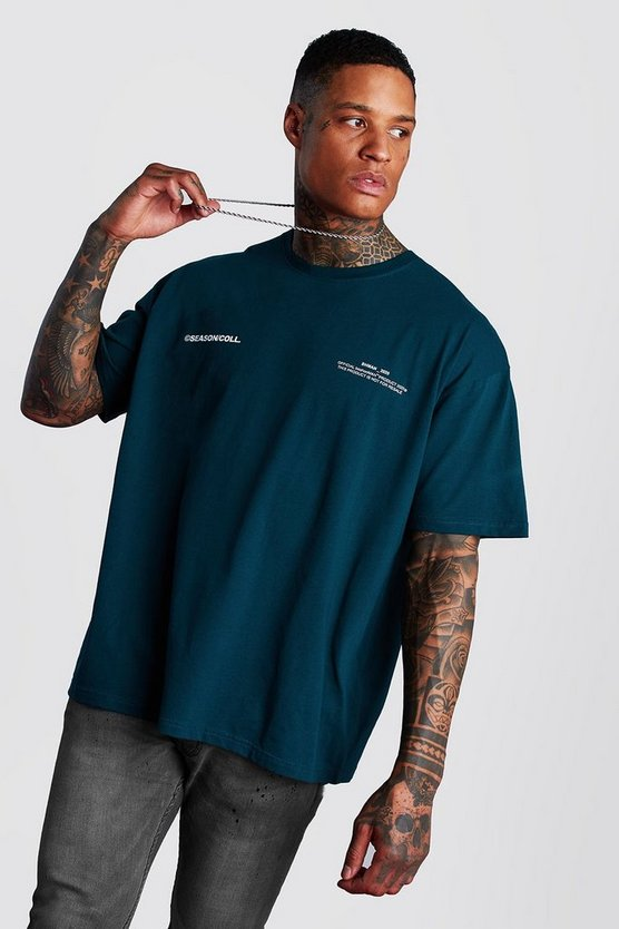 Teal Oversized MAN Official Front & Back Printed T-Shirt