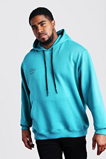 Teal Big And Tall MAN Official Printed Hoodie