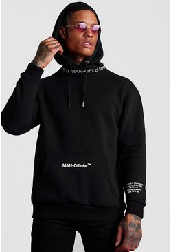 Black MAN Official Printed Hoodie With Rib Detail