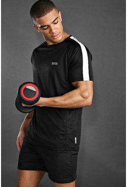 Black MAN Active Raglan Gym Reflective T-Shirt