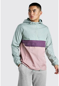 Mint Colour Block Overhead Cagoule Front Pocket