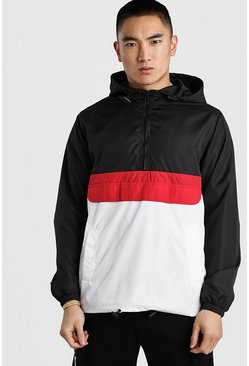 Black Colour Block Overhead Cagoule Front Pocket