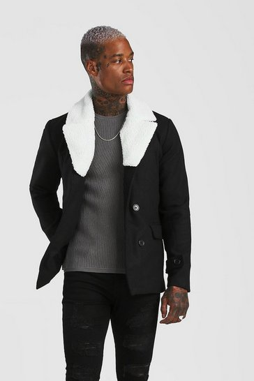 Black Double Breasted Peacoat Detachable Borg Collar