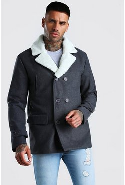 Grey Double Breasted Peacoat Detatchable Borg Collar