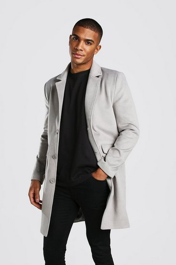 Light grey Wool Look Overcoat