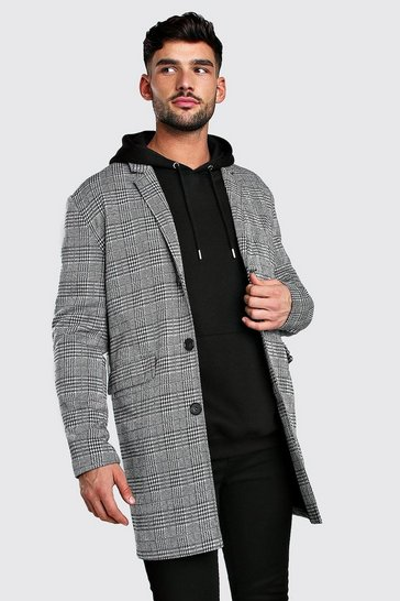 Black Check Overcoat Wool Look