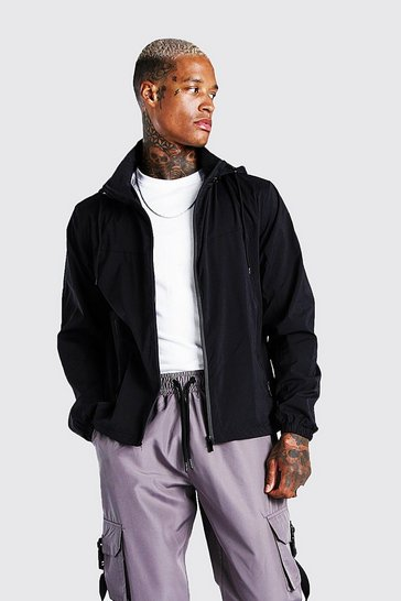 Black Zip Through Hooded Cagoule