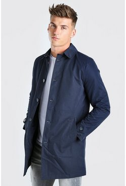 Navy Single Breasted Twill Mac