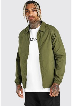 Khaki Nylon Harrington Jacket