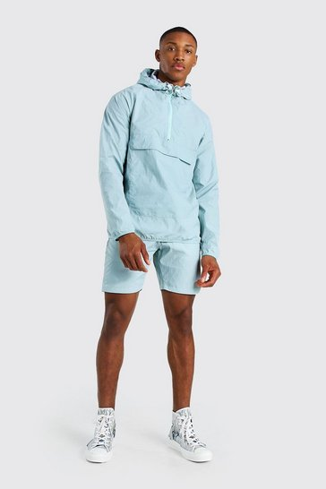 Mint Nylon Overhead Front Pocket Jacket