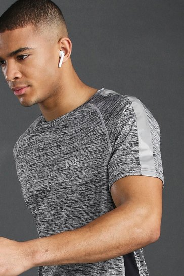 Grey MAN Active Raglan Gym Reflective T-Shirt