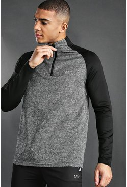 Grey MAN Active Funnel Neck Track Top