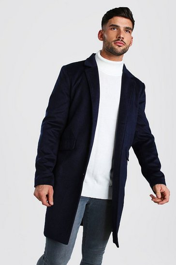 Navy Wool Look Overcoat