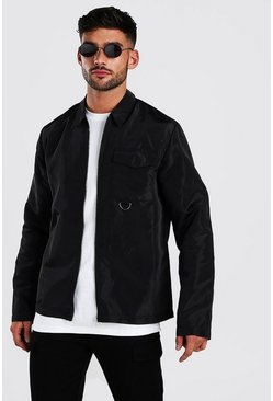 Black Nylon Zip Through Shirt