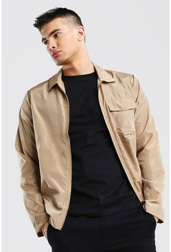 Stone Nylon Zip Through Shirt