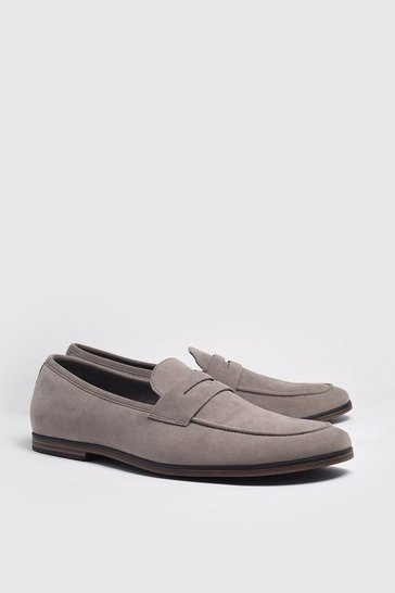 Lilac grey Faux Suede Saddle Loafer