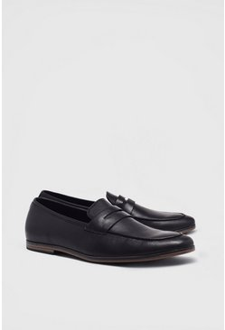 Black Faux Leather Saddle Loafer