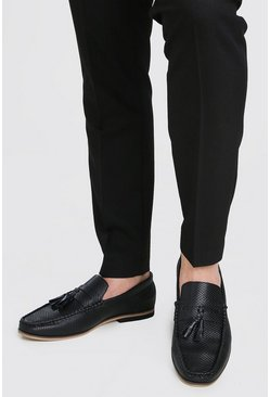 Black Emboss Faux Leather Tassel Loafer