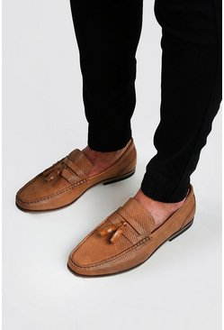 Tan Emboss Faux Leather Tassel Loafer