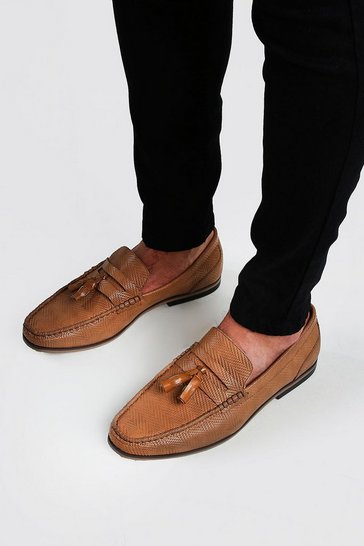 Tan Emboss Leather Look Tassel Loafer