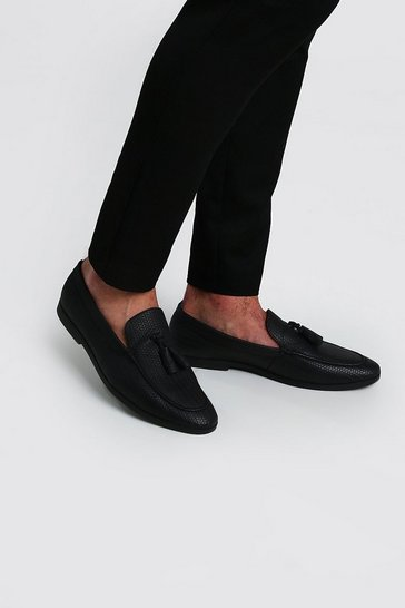 Black Emboss Tassel Loafer