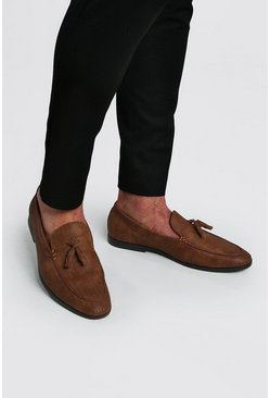 Tan Emboss Tassel Loafer