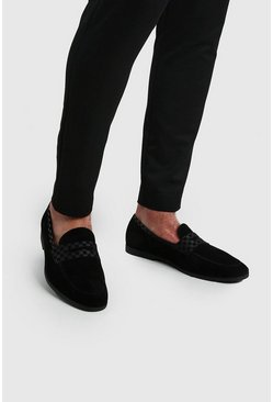 Black Checkerboard Saddle Loafer