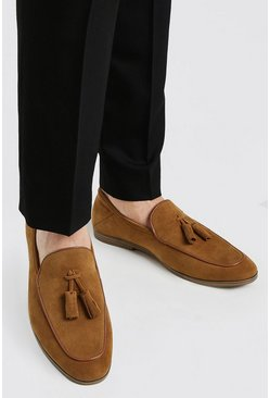 Tan Faux Suede Tassel Detail Loafer