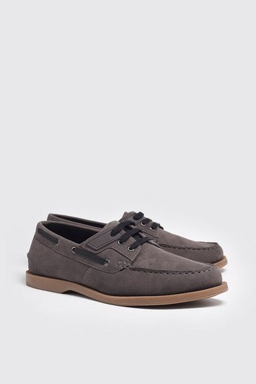 Grey Faux Suede Boat Shoe