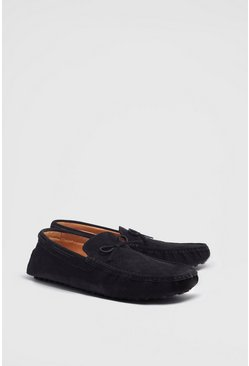 Black Faux Suede Tassel Loafer