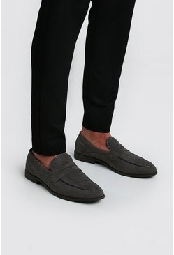 Grey Faux Suede Circle Emboss Loafer