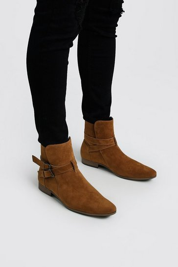 Tan Faux Suede Double Buckle Chelsea