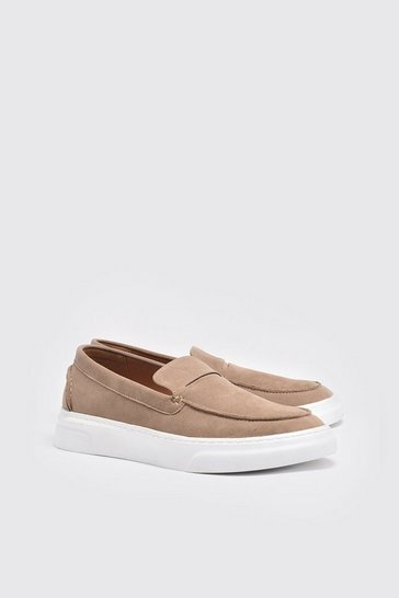 Stone Faux Suede Casual Loafer
