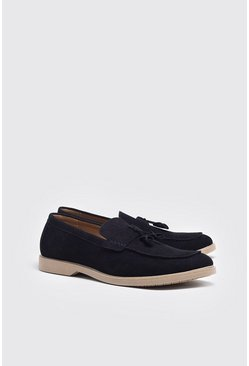 Navy Faux Suede Tassel Loafer