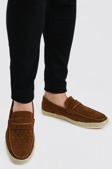 Tan Faux Suede Woven Braided Loafer