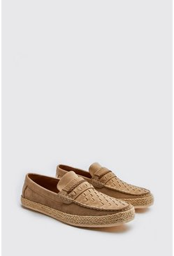 Stone Faux Suede Woven Braided Loafer