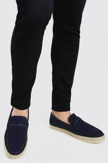 Navy Faux Suede Woven Braided Loafer