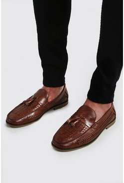 Tan Faux Leather Woven Loafer