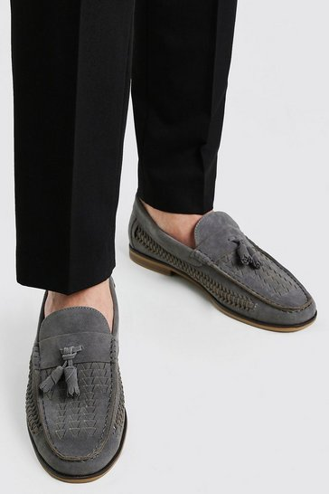 Light grey Faux Suede Woven Loafer