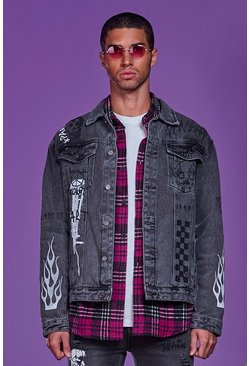 Charcoal Graffiti Printed Denim Jacket