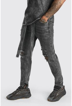 Charcoal Skinny Rigid Ripped Jeans With Denim Belt