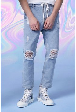 Wash blue Straight Leg Cropped Jogger Jean With Belt
