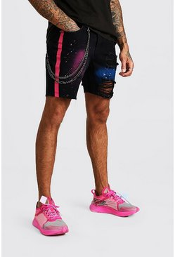 Black Slim Fit Spray Paint Denim Shorts With Chain