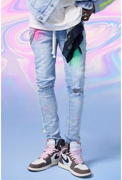Light blue Super Skinny Spray Paint Jeans With Chain