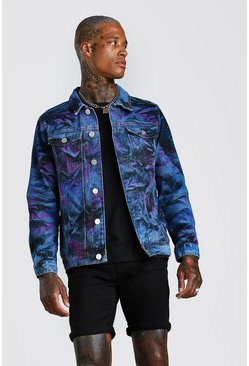 Light blue Fully Borg Lined Spray Painted Denim Jacket