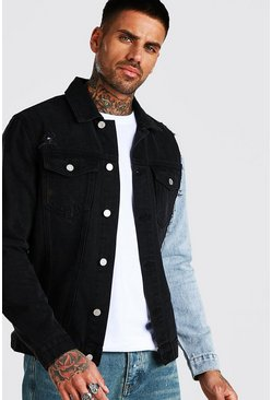 Washed black Spliced Denim Jacket