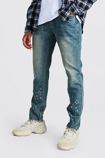 Mid wash Skinny Rigid Jeans With Paint Splatter
