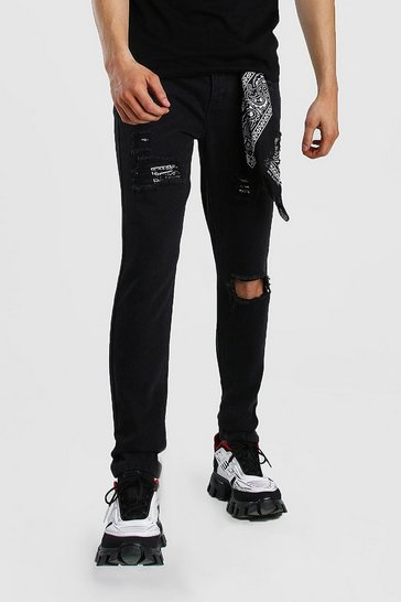Black Skinny Rigid Jeans With Bandana